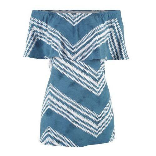 """Shirt """"oversize"""" jasny koralowy - szary melanż w paski, Bonprix, 36-58"""