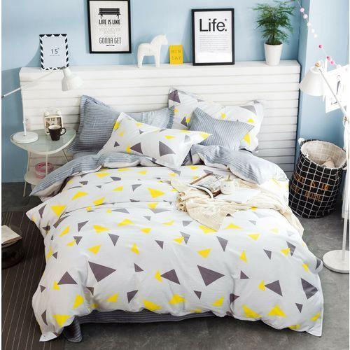 Kz Pościel satynowa 160x200 wzór szaro-żółte trójkąty