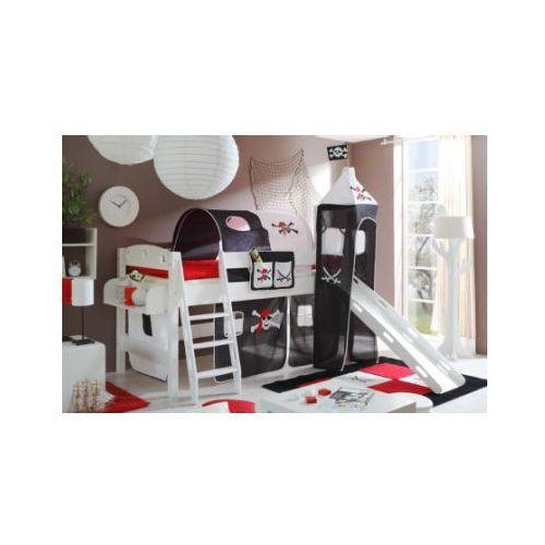 Ticaa łóżko zze zjeżdzalnią i wieżą kenny sosna biała - pirat kolor biało-czarny marki Ticaa kindermöbel