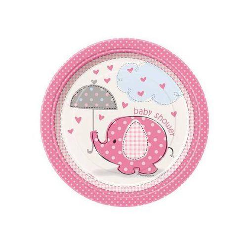 Talerzyki na baby shower słonik z parasolem dla dziewczynki - 23 cm - 8 szt. marki Unique