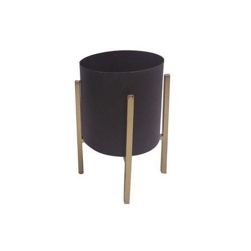 Osłonka na metalowym stojaku śr. 12 cm czarno-złota MODERN (5903039403932)