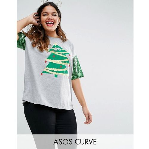 ASOS CURVE Christmas T-Shirt with Sequin Sleeve and Christmas Tree Print - Grey