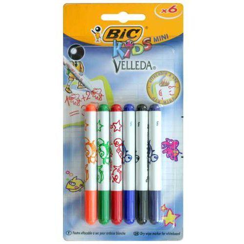 Pisaki suchościeralne kids mini velleda 6 kolorów - komplet marki Bic