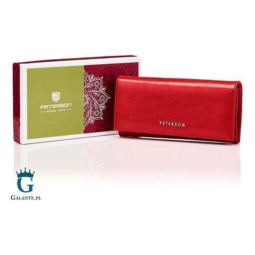 Peterson Czerwony skórzany portfel damski pl467 red