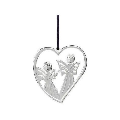 Ozdoba świąteczna serce z aniołami Karen Blixen, srebrne - Rosendahl, 31611