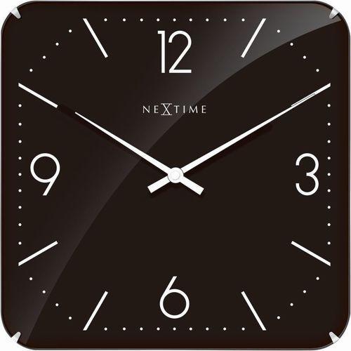 - zegar ścienny basic square dome - czarny marki Nextime
