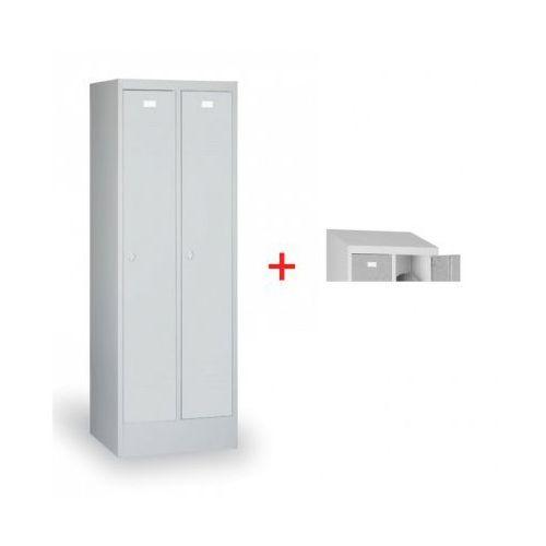 Szafka ubraniowa ekonomik, szare drzwi, zamek cylindryczny + daszek gratis marki B2b partner