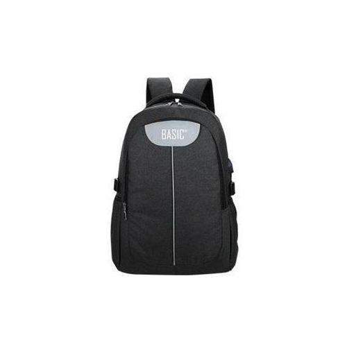 Plecak młodzieżowy z usb czarny /basic, kolor czarny