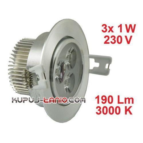 Lampa sufitowa wnękowa LED 3 x 1W, barwa biała ciepła