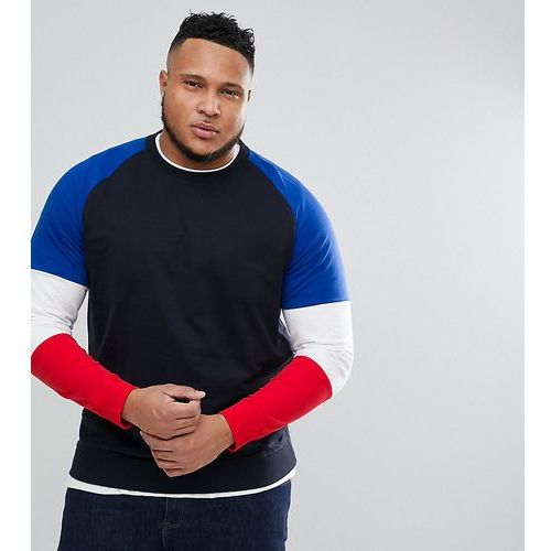 Only & Sons PLUS Crew Neck Sweat With Contrast Colour Block Sleeves - Navy