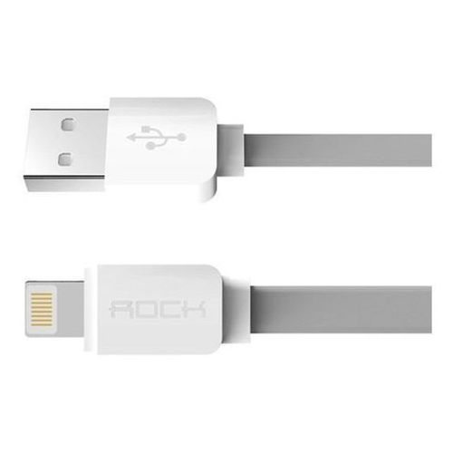 Kabel PŁASKI ROCK iPhone 5/6 szary - szary (6950290685361)