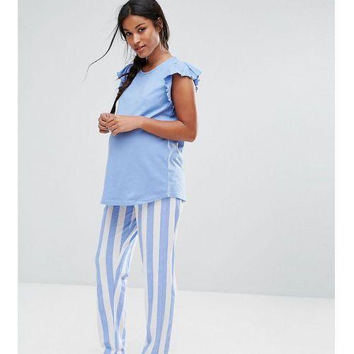 pyjama set with striped bottoms and ruffle shoulder - blue marki Asos maternity
