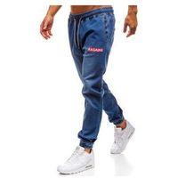 Spodnie jeansowe joggery męskie niebieskie Denley 2032, jeans