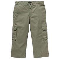 Spodnie bojówki 3/4 ze stretchem i ściągaczem w talii Regular Fit bonprix oliwkowy, kolor zielony