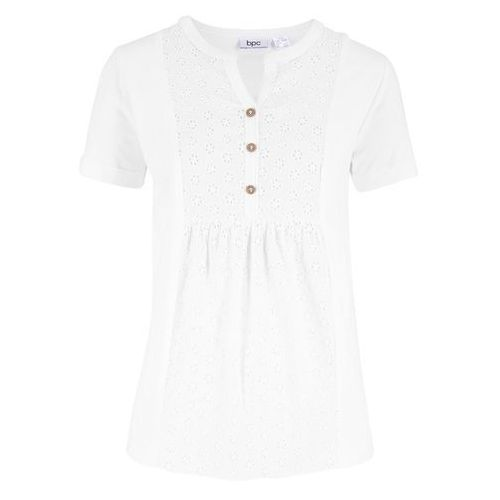 Koszulka z długim rękawem (2 sztuki), bawełna organiczna bonprix jasnoróżowy pudrowy - biały, kolor biały