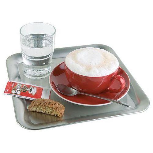 Taca kwadratowa ze stali nierdzewnej do serwowania kawy | 230x230mm