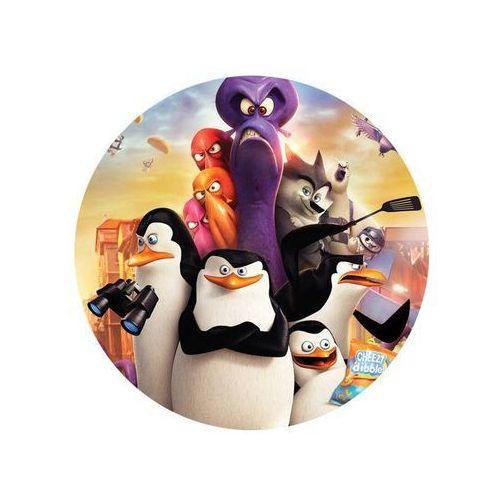 Dekoracyjny opłatek tortowy Pingwiny z Madagaskaru - 20 cm