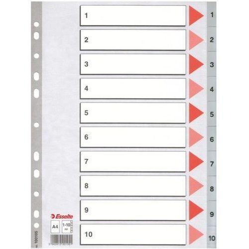 Przekładki 1-10 plastikowe  pp a4 numeryczne szare - x02727 marki Esselte