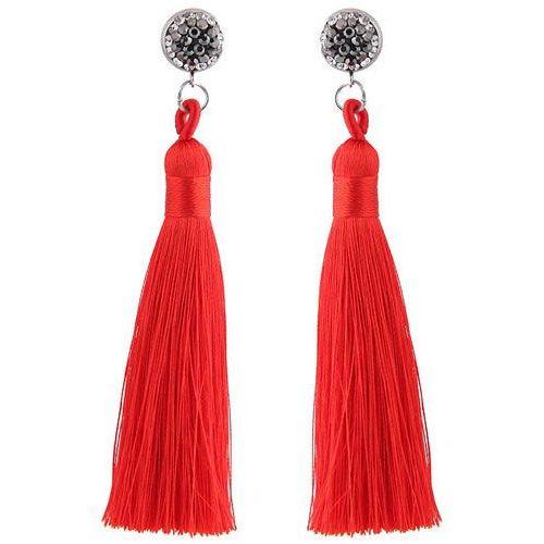 Kolczyki długie frędzle z cyrkonią czerwone - CZERWONE, kolor czerwony