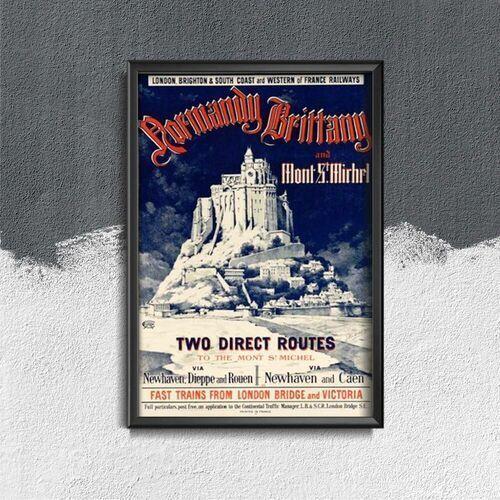 Plakaty w stylu retro plakaty w stylu retro vintage mont-st michel france marki Vintageposteria.pl