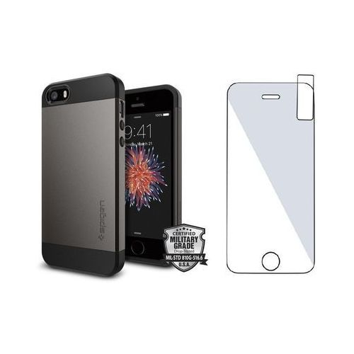 Sgp - spigen / perfect glass Zestaw | spigen sgp slim armor gunmetal | obudowa + szkło ochronne perfect glass dla modelu apple iphone 5 / 5s / se