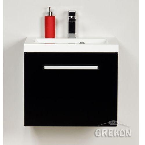 Szafka wisząca kolor czarny z umywalką 50/39 seria fokus c marki Gante