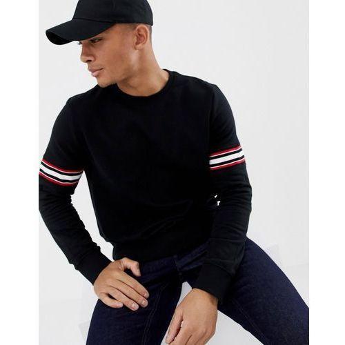 Burton Menswear sweatshirt with arm tape detail in black - Black, kolor czarny