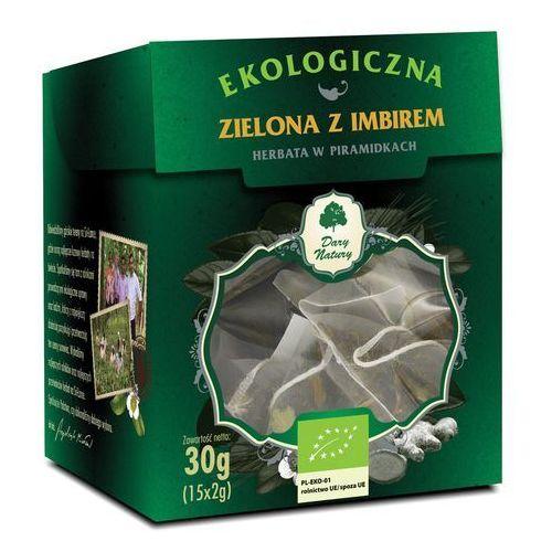 Herbata zielona z imbirem piramidki bio (15 x 2 g) - dary natury marki Dary natury - test
