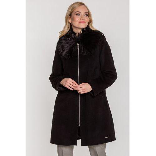 Emoi Czarny płaszcz z futerkiem -