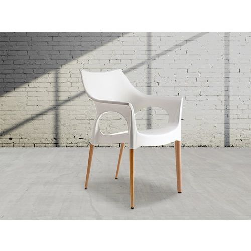 Beliani Krzesło do jadalni białe natural ola (7081458946655)