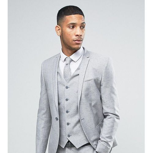 Noak Wedding Skinny Suit Jacket In Linen Nepp - Grey, len
