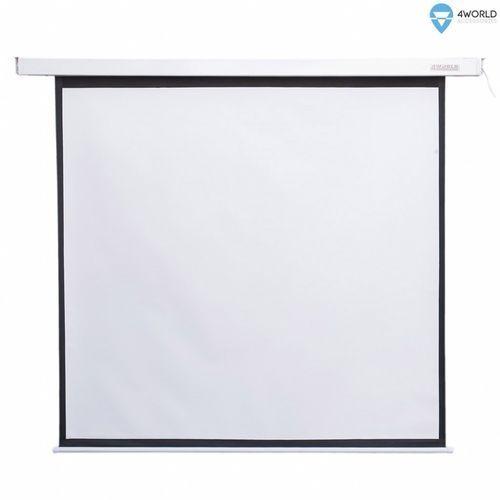 4world elektryczny ekran projekcyjny z pilotem 178x178 (1:1) biały mat (5908214361823)