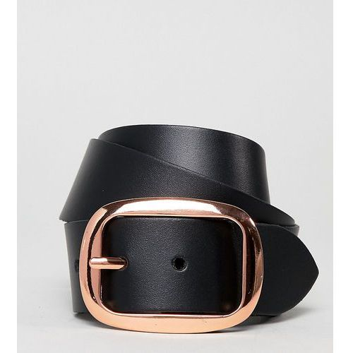Asos design leather jeans belt with rose gold buckle - black
