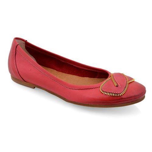 Baleriny Lemar 184/T R.Czerwony, kolor czerwony