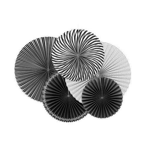 Party deco Rozetki wiszące black and white - 5 szt.
