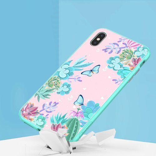 Nillkin floral case magnetyczne etui 360 pokrowiec na całą obudowę przód + tył iphone xs max zielony