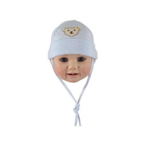 STEIFF Boys Baby Wiązana czapeczka w prążki baby blue (4048043419058)