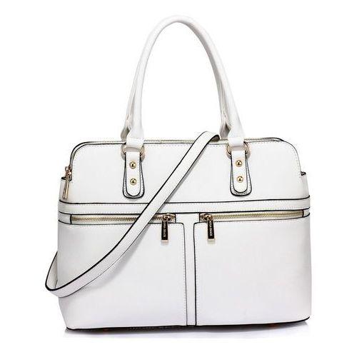 Biała torebka damska trzy komory! - biały