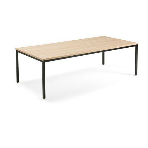 Stół konferencyjny MODULUS, 2400x1200 mm, rama 4 nogi, czarny, dąb