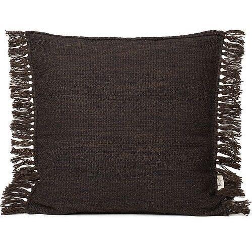 Poduszka kelim 50 x 50 cm ciemnobrązowa z frędzlami (5704723264118)