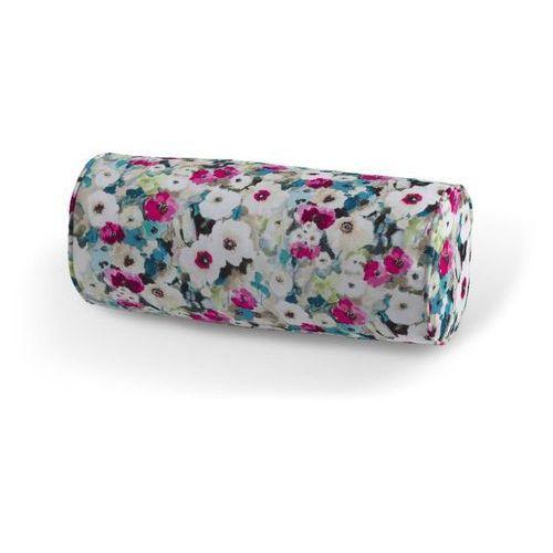 poduszka wałek prosty, kolorowe kwiaty z przewagą niebieskiego, Ø 16 x 40 cm, monet marki Dekoria