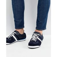 suede nylon mix trainers in navy - navy, Boss