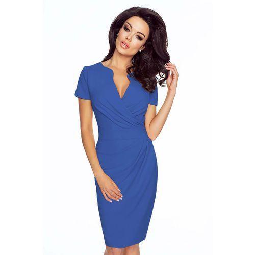 Niebieska elegancka sukienka z założeniem kopertowym marki Kartes moda