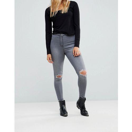 Parisian Ripped Knee Skinny Jeggings - Grey, kolor szary