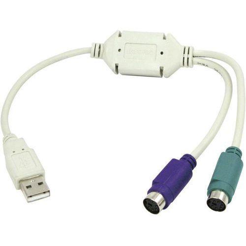 Kabel USB 1.1 LogiLink AU0004A, [1x złącze męskie USB 1.1 A - 2x złącze żeńskie PS/2], 0.15 m, szary (4260113566961)