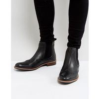 Silver Street Brogue Chelsea Boots In Black Leather - Black