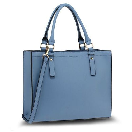 2b1854e1a21bc Klasyczna elegancka torebka damska szaroniebieska - szaroniebieski