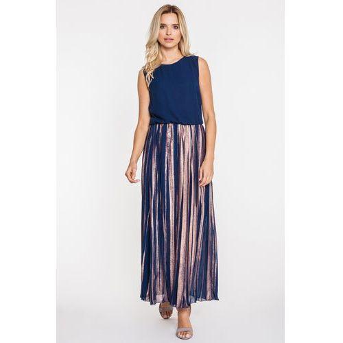 Balowa suknia z plisami - Jelonek, kolor niebieski