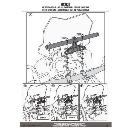 Kappa 01skit kit do mocowania smart bar aprilia / bmw / ktm / triumph