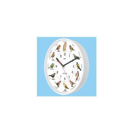 Zegar z głosami ptaków plastik biały #2, kolor biały